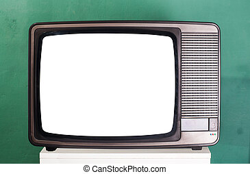 Old television, green wall on the background