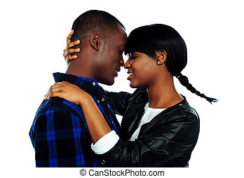 Young female about to kiss her boyfriend - Beautiful young...