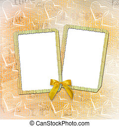 Old paper in grunge style Abstract background with hearts