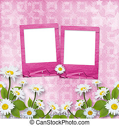 Card for congratulation with pink slides and bouquet of flowers