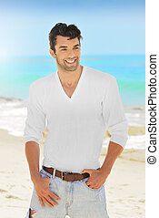 Man smile - Great looking young man with nice smile outdoors
