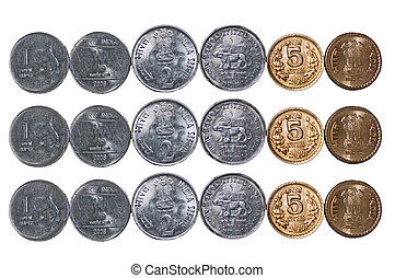 3 rows Indian Coins isolated on white copy space