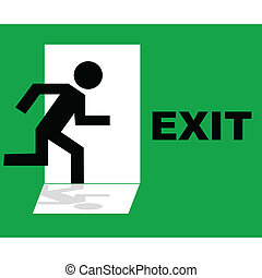 Green emergency exit sign icon