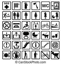 International service signs. All objects are isolated and...