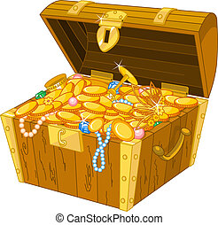 Treasure chest - Illustration of treasure chest full of gold...