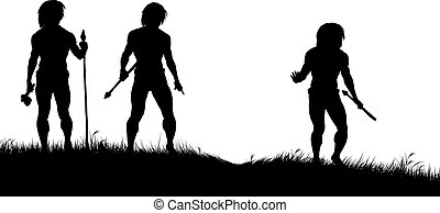 Caveman hunters - Editable vector silhouettes of three...