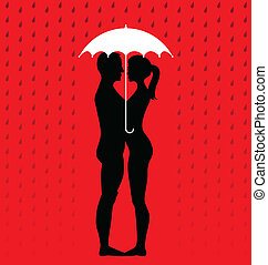 silhouette of young couple under an umbrella, standing in the rain - illustration