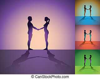 Set of naked men and women holding by hands - silhouette illustration
