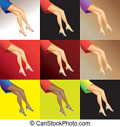 eps10 hot woman legs with shoes - illustration