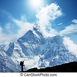 Hike in Himalaya - Climber in Himalayan mountain