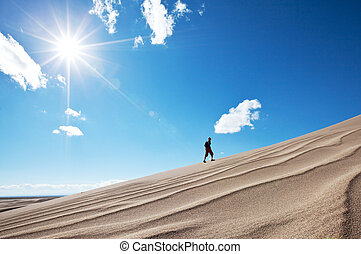 Hike in desert - Hike in Gobi desert