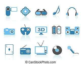 media entertainment icons ,blue series