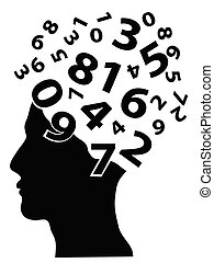 numbers head - numbers coming from the human head