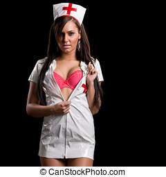 Very sexy woman in kinky nurse uniform - Very sexy woman in...