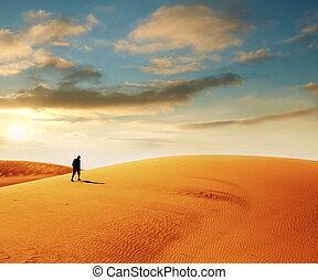 Hike in desert - Hike in Gobi desert