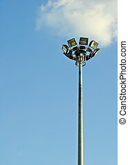 Streetlamp light with blue sky