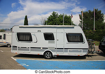 Middlesized caravan - A middlesized caravan parked on a...
