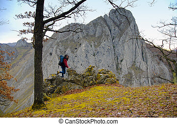 Beautiful limestone gorge and a woman admiring it - A...