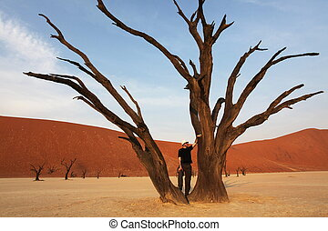 Tourist in Dead valley - Dead valley in Namibia