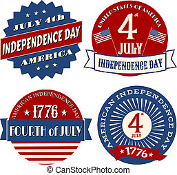 Independence Day Stickers - A set of four sticker designs...