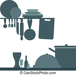 kitchen stuff icons for food menu, and web icons