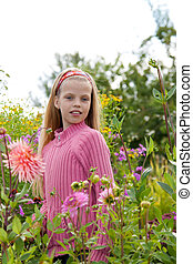 girl in the flower garden