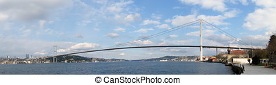 Bosphorus bridge in Istanbul Turkey - connecting Asia and...