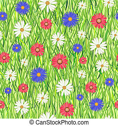 abstract grass and flowers