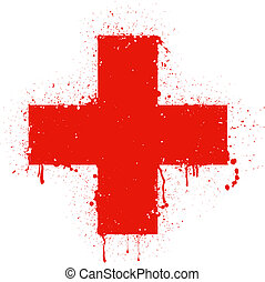 red cross - Vector illustration of red cross isolated on...