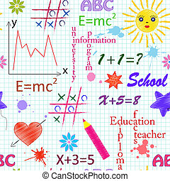 school seamless pattern - Vector illustrarion of school...