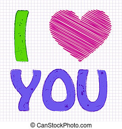 i love you - Vector illustration of children's picture on a...