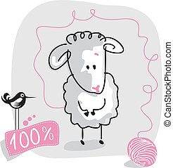 Doodle Sheep - Cute doodled sheep with wool quality label