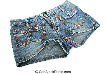 Blue jeans shorts isolated on white background.