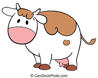 Cute cow - Illustration of the cow on white background