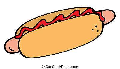 Hotdog symbol - Illustration of the hotdog on white...