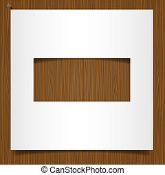 Simple paper frame on wooden background