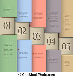 Paper numbered banners in pastel colors Vector design...