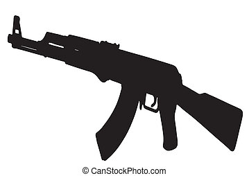 AK-47 Kalashnikov rifle -  black with white background