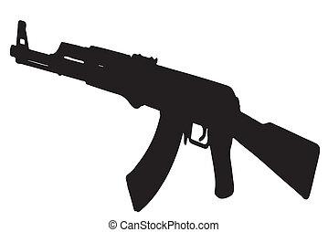AK-47 Kalashnikov rifle -  black with white background