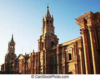 Peruvian city Arequipa - church in the Arequipa,Peru