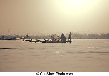 Inle lake - Boats on Inle Lake,Myanmar
