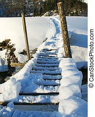 bridge of snow - Bridge over river ander snow in caucasus...