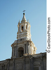 Architecture of the Arequipa city,Peru - White church in the...