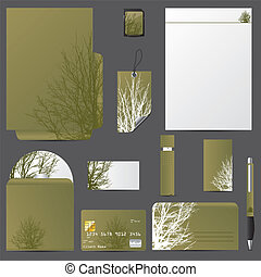 Business vector set with tree design and green color