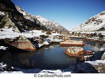 Beautiful creek in the Cordillera mountain - Stone in the...