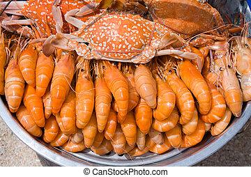 caranguejos, cozinhado, tailandia, mercado, Camarões