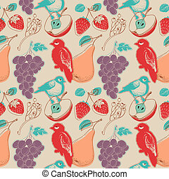 Fruits and birds retro seamless pattern