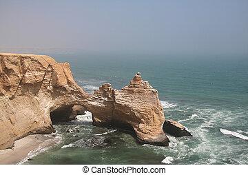 Sea park Paracas in Peru - Cliff in the Paracas park in Peru