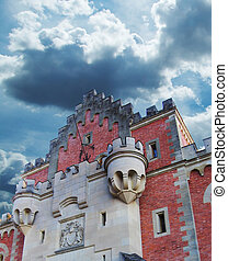 Red castle - Architecture detail Neuschwanstein castle