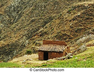 Old building in mountain - Old hut in Peruvian Andes